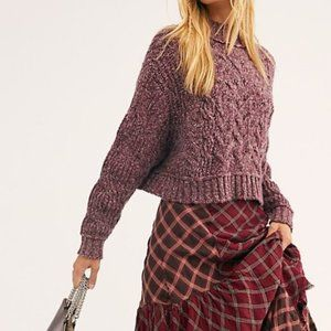 Free People Merry Go Sweater- Very Berry